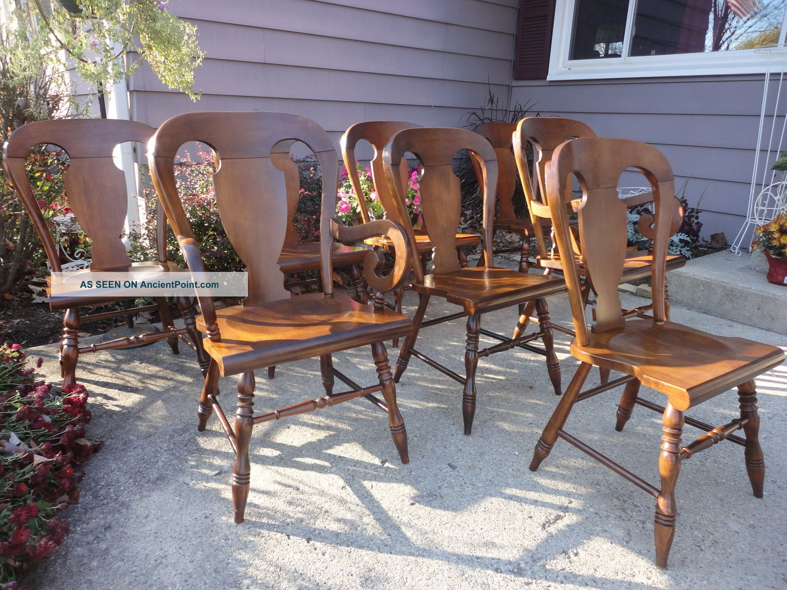 Tell City Rumford 8 Balloon Back Dining Chairs + Table Excellent Ships Indpls Post-1950 photo