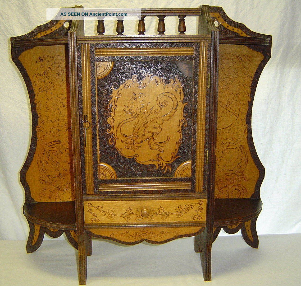 Antique Dragon Motif Pyrography Wall Hanging Cabinet Cupboard W/ Key Wood  Wooden
