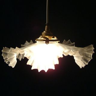 Antique Pretty Hand Crimped Glass Ceiling Light Lamp Shade Circa 1900 photo