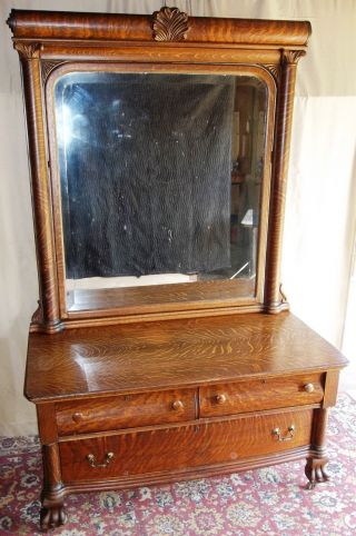 Antique Large Tiger Oak Princess Dresser With Tall Framed Tilt Mirror,  Claw Feet photo