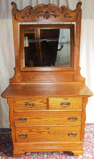 Antique Oak 2 Over 2 Drawer Dresser,  Applied Carvings,  Large Framed Tilt Mirror photo