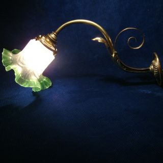 Antique Green Tint Glass Shade With Brass Wall Light Lamp C1900 photo