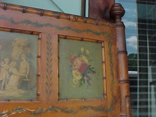 Faux Bamboo Single Victorian Bed / Hand Painted Panels (1) Of A Pair Make Offer photo