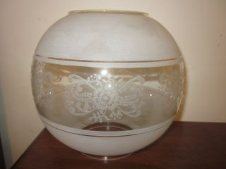 Vintage Antique Frosted Floral Glass Oil Lamp Shade Lampshade Globe 4 In Opening photo