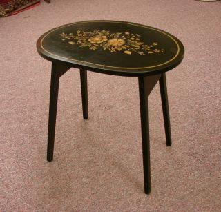 Wow Vintage Black & Gold Floral Stenciled Hitchcock Signed Folding Hostess Table photo