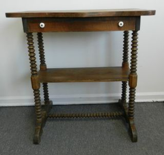 Pine Spindle Leg Side Table Stand With Drawer Jenny Lind Style photo