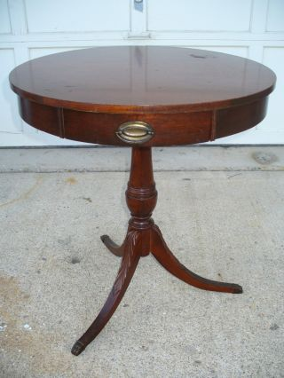 Antique Wooden Mersman Drum Table With Drawer & Brass Claw Feet - 7344 photo
