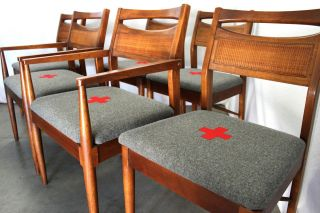 Mid Century Dining Chairs Industrial Swiss Army Blanket Style Danish Vtg Walnut photo