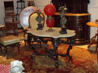 ✿✿ 1860 ' S Walnut Center Hall Turtle Top Parlor / Banquet / Gwtw Lamp Table ✿✿ photo