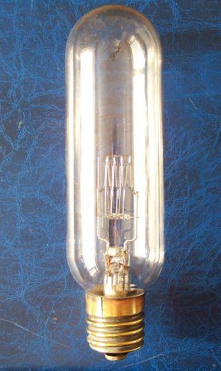 Antique Old Vintage Hand Blown Glass Brass Lamp High Watt Filament 9