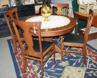 Antique Round Oak Claw Foot Table With 4 Chairs photo