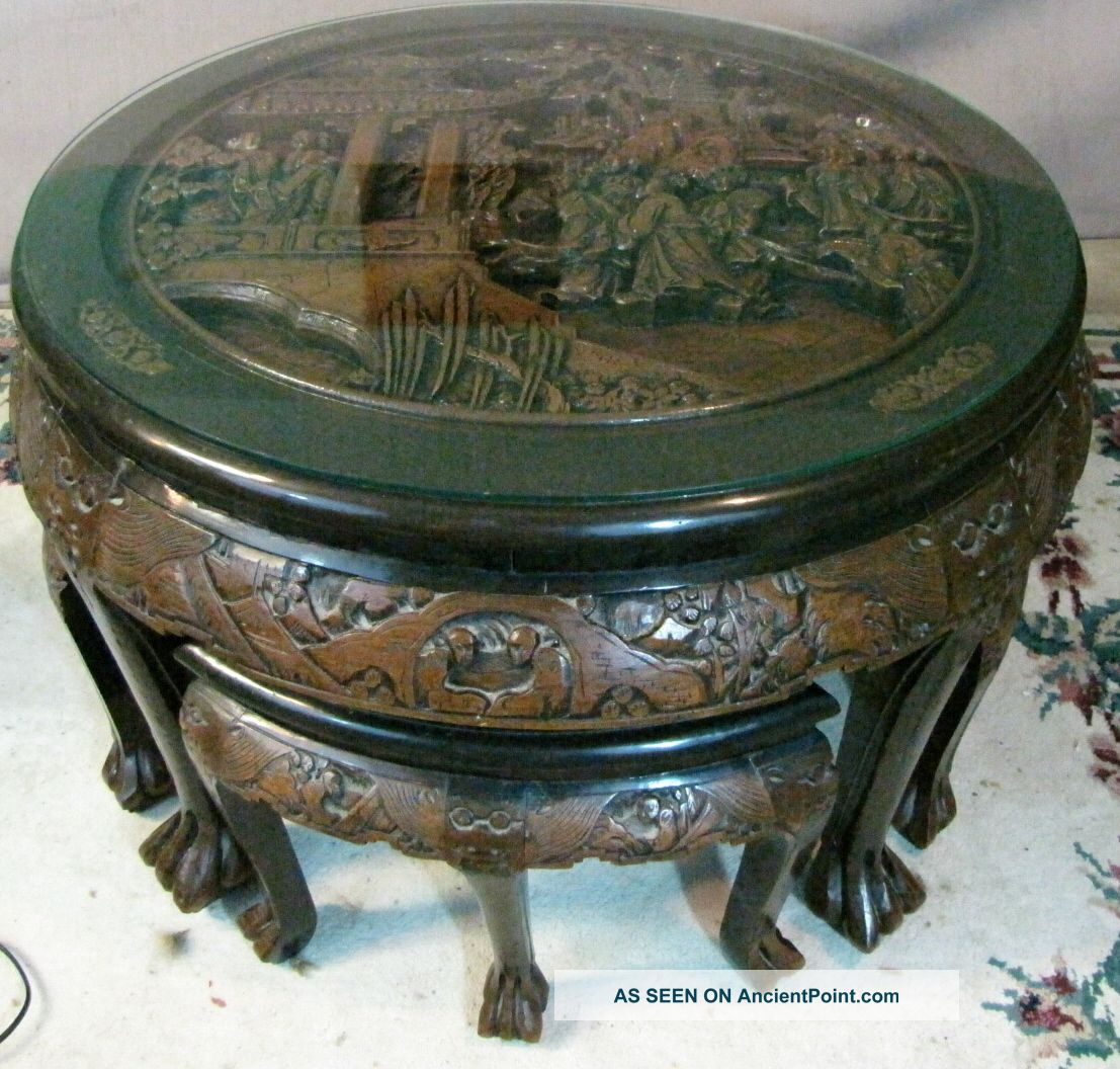 Antique Chinese Hand Carved Coffee Table