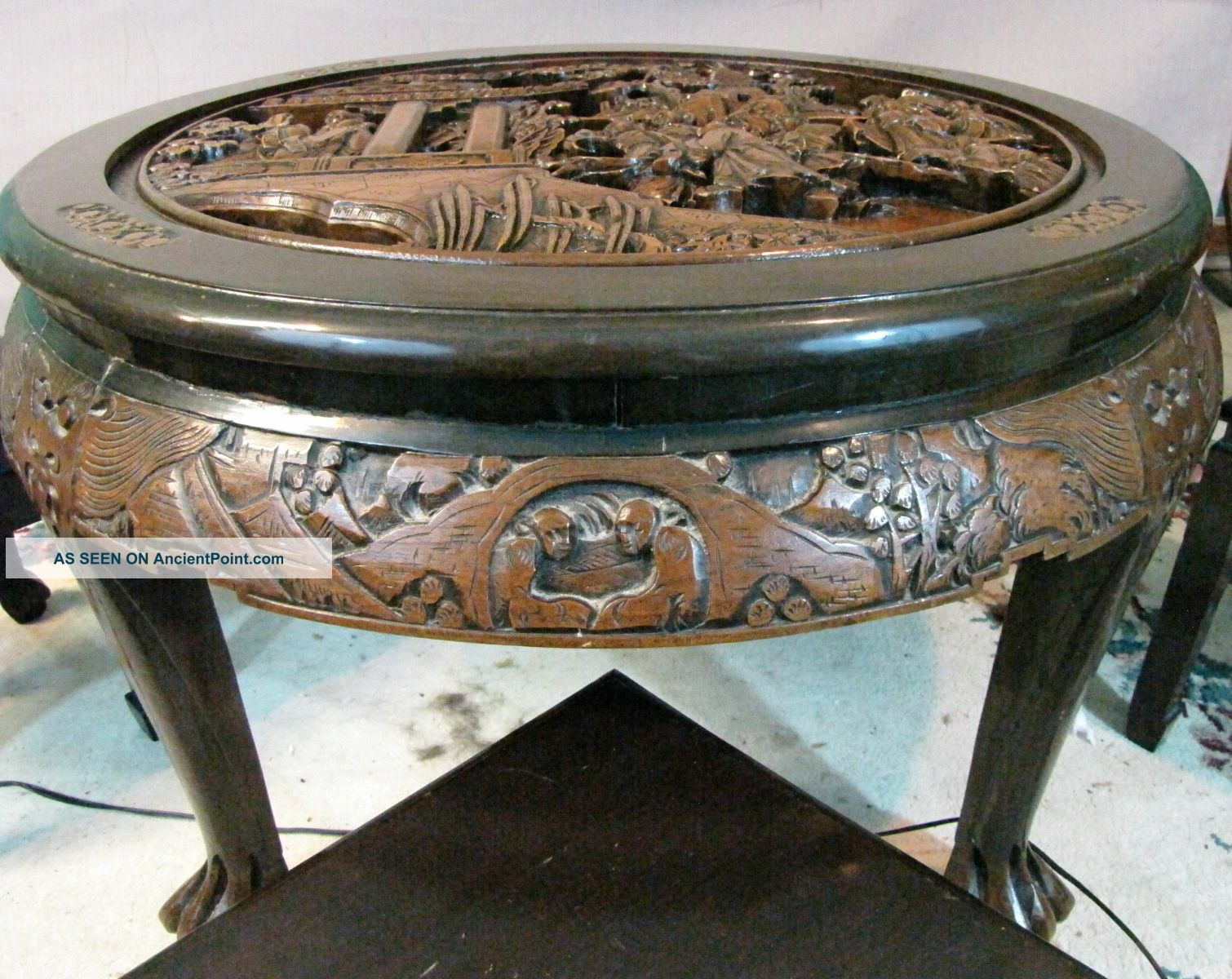 Antique Chinese Hand Carved Wood Tea Coffee Table With 4 Matching