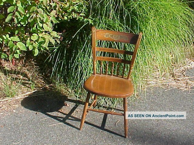 Vintage Hitchcock Stenciled Side Chair Thumb Back / Spindles (trucker Available) Post-1950 photo