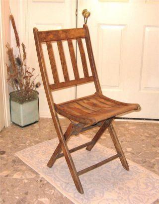 Antique Vintage Oak Wood Folding Chair Bistro Style Photo