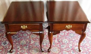 Vintage Cherry Queen Anne Side/ End Tables,  Drawers Pair photo
