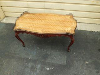 50585 Antique French Inlaid Carved Coffee Table With Gallery photo