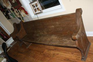 Antique Oak Church Pew 113 Inches Wide photo