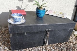 Vintage Steel Trunk,  Rustic Coffee Table,  Antique Toy Box,  Quirky Blanket Box photo