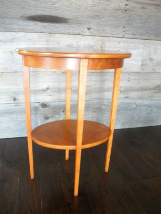 Small Oval Birds Eye Maple Table,  Mid 20th Century. photo