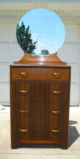 Vintage Kroehler 4 Drawer Dresser With Oval Mirror photo