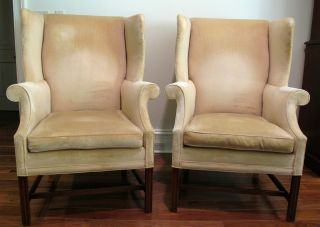 Pair Chippendale Style Wing Back Chairs,  Southwood photo