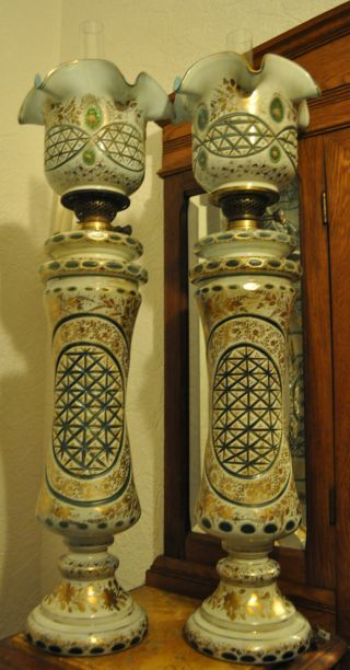 Magnificent And Giant Pair Of Antique Bohemian Overlay Glass Oil Lamp photo