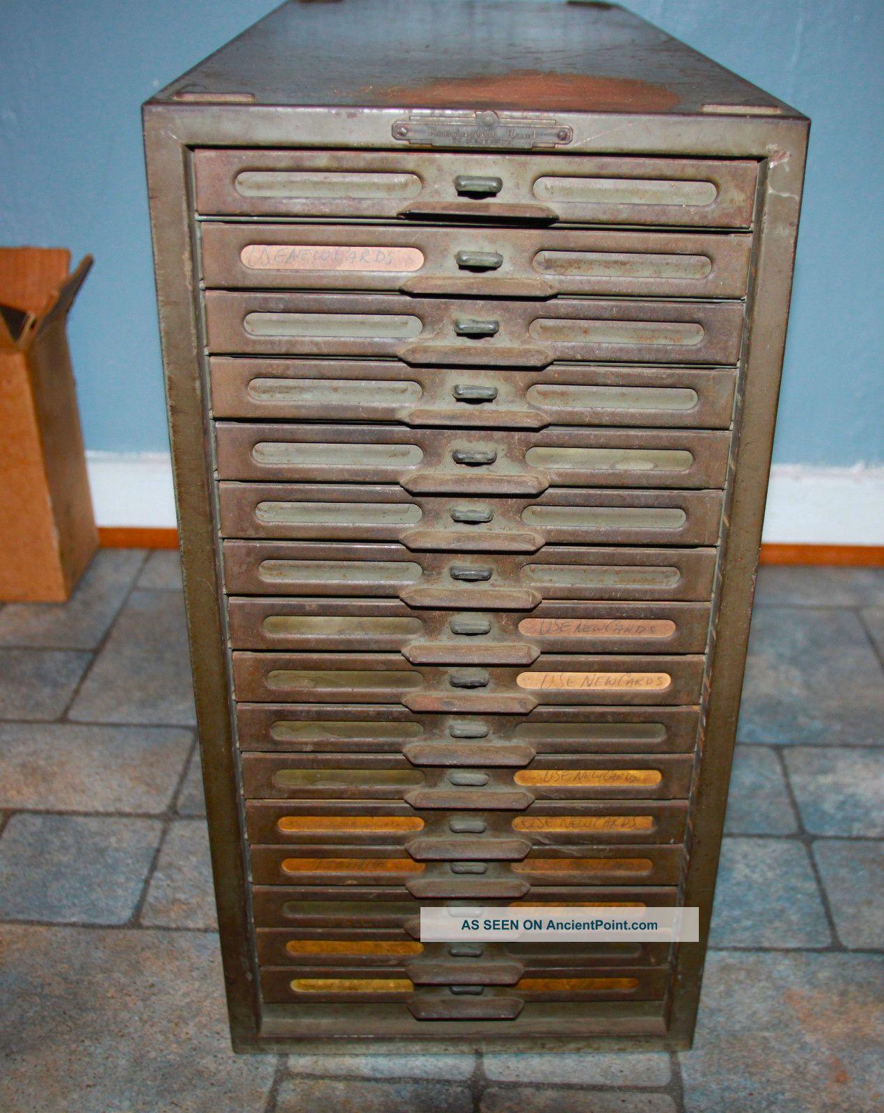 Vintage Industrial Remington Rand Kardex Metal File Cabinet 16 Drawers  Factory - Vintage Industrial Remington Rand Kardex Metal File Cabinet 16
