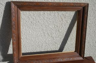 Stunning Antique Solid Oak Picture Frame,  Hand Carved Victorian Picture Frame photo