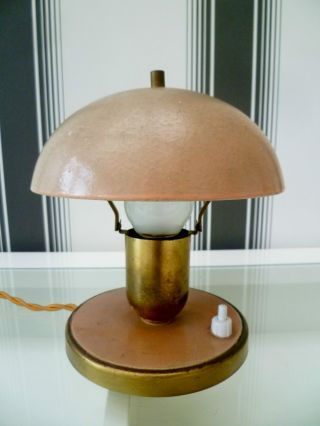 1920 ' S Art Deco Bauhaus Mushroom Desk Lamp With Base Mounted Switch photo