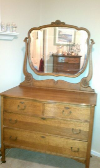 Antique Oak Mirrored Dresser Two Drawers Over Two Drawers photo