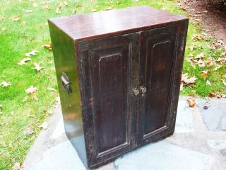 Civil War Field Desk Cabinet Secretary Camp Chest Antique 2door Dovetail Drawers photo
