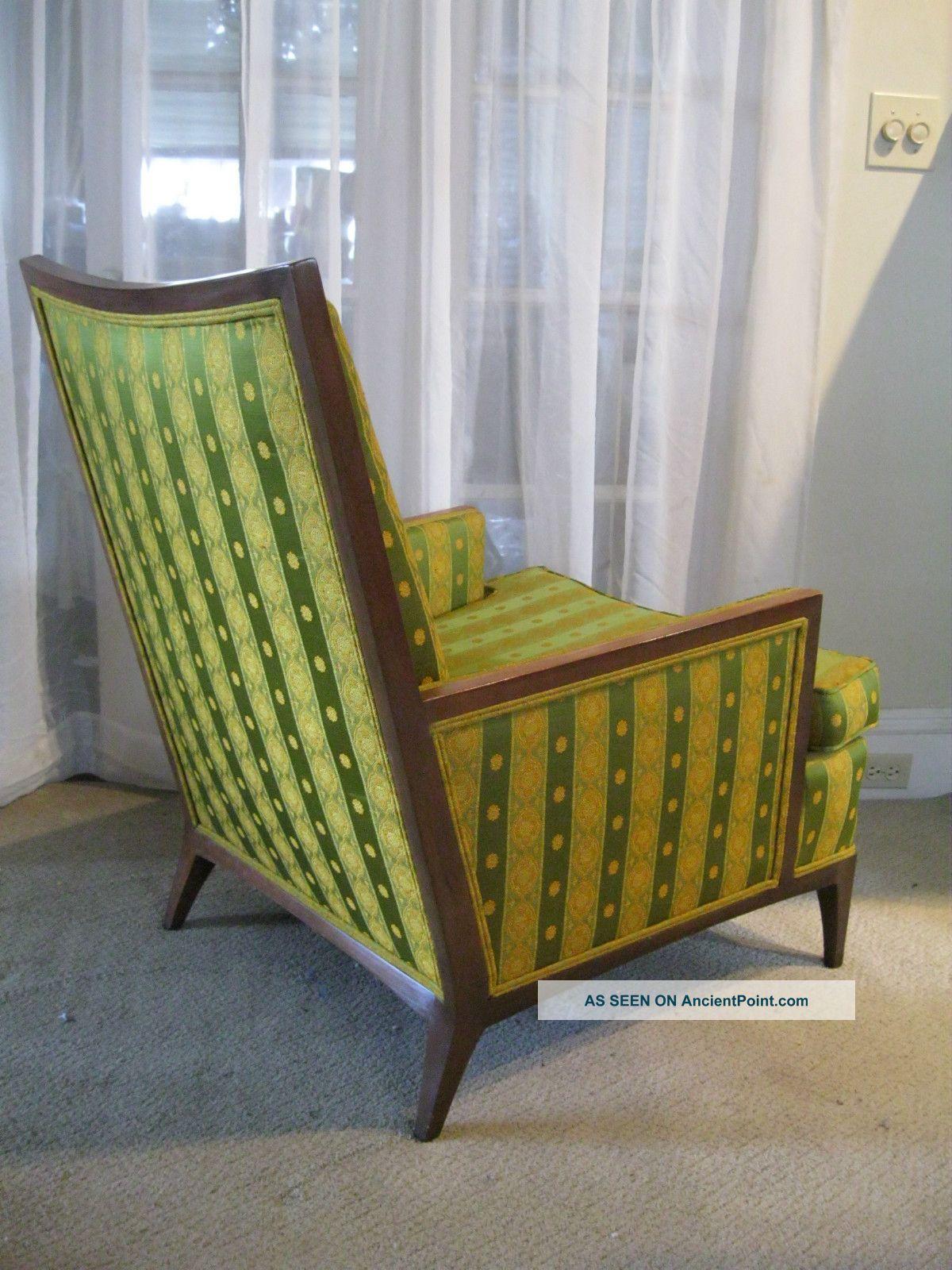 Mid Century Signed Walnut Framed John Stuart Dunbar Era Lounge Chair Post-1950 photo
