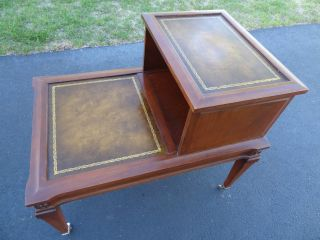 Lovely Antique Mahagony End Table With Leather Top Photo