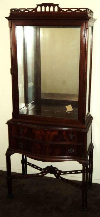 Antique mahogany china cabinet asian motifs curio cabinet photo