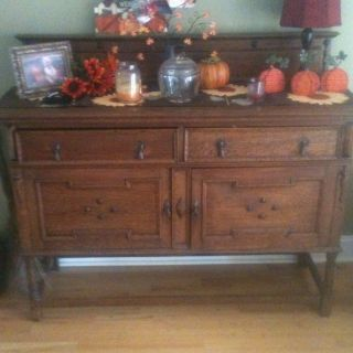 Antique Tiger Oak Side Board Buffet photo