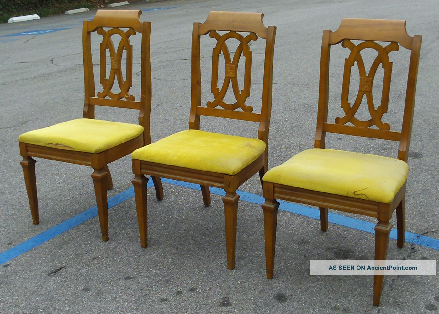 Vintage Hollywood Regency Curved Wood Dining Room Chairs Mustard Yellow Cushions Post-1950 photo