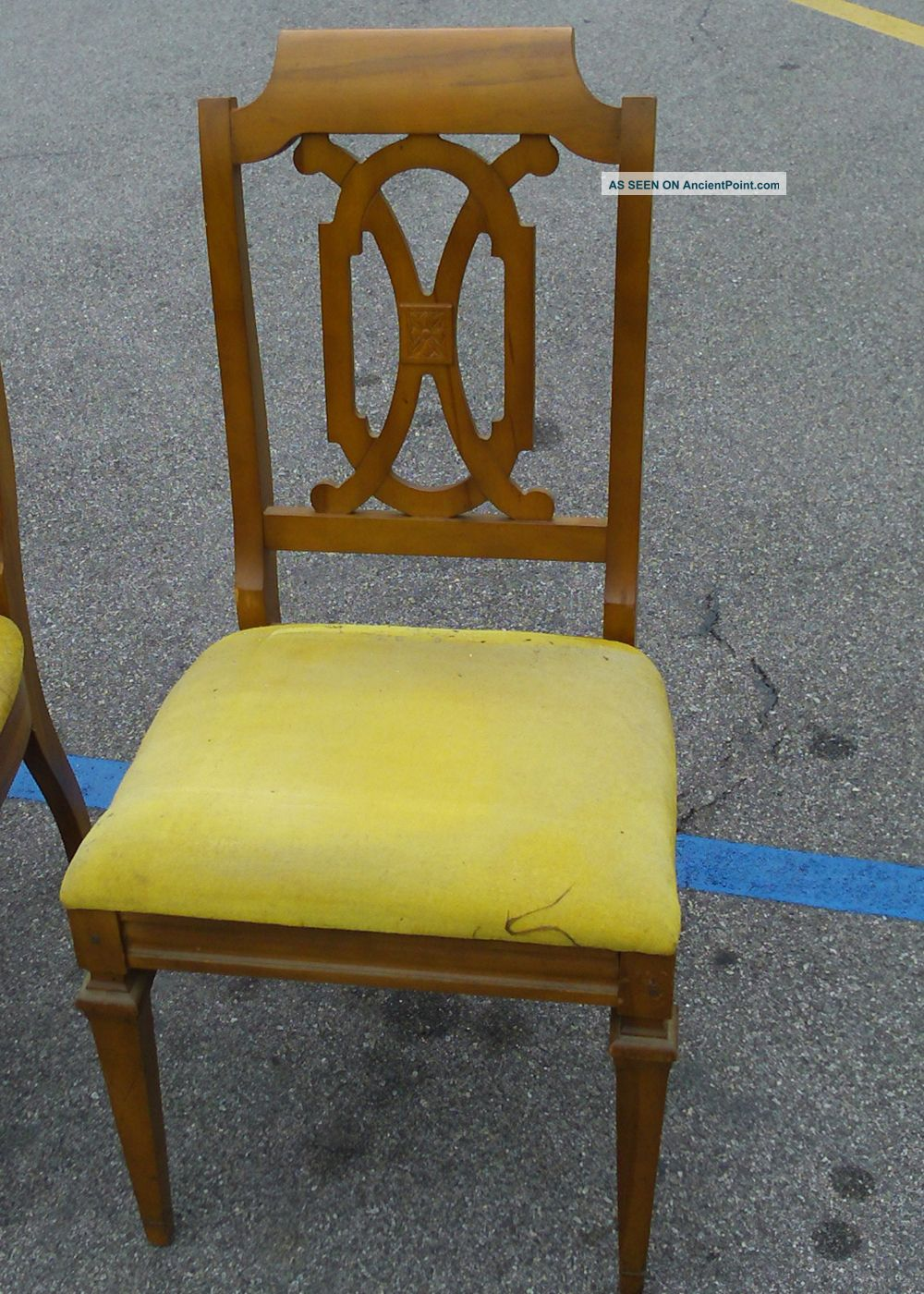 Vintage Hollywood Regency Curved Wood Dining Room Chairs Mustard Yellow Cushions
