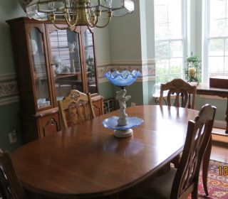 Bassett Cherry French Ctry Dr Set,  Table W/4 Chairs & Glass Front China Cabinet photo
