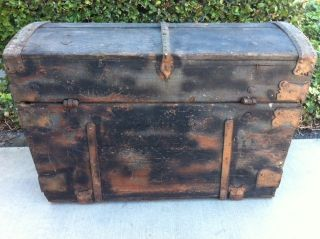 Vintage Industrial Antique Trunk Or Chest photo