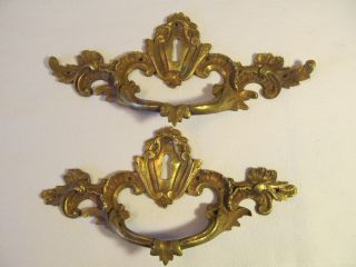 Pr Of French Antique Gilded Brass Desk Handles. . . .  1880s photo