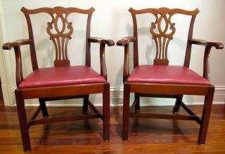Pair Top Qualilty Chippendale Armchairs,  Kittinger Quality photo