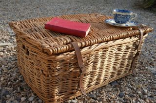 Large Vintage Wicker Picnic Hamper,  Vintage Christmas Hamper,  Rustic Toy Box photo