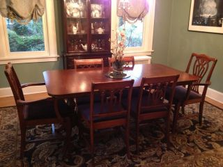 Antique Dining Room Set Incl Buffet And China Cabinet photo