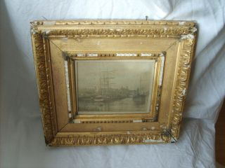Antique Shabby Chic Gilt Gesso Frame Print Of Carmarthen Frame photo