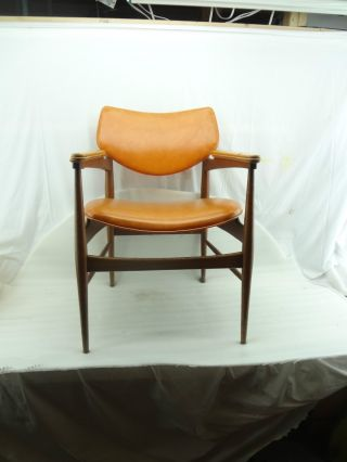 Vintage Retro Mid Century Chair 50s Furniture Modern Danish Style Stool Orange photo