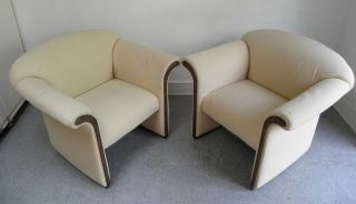 Pair Mid Century Modern Hollywood Regency Lounge Chairs David Edward 1970s photo