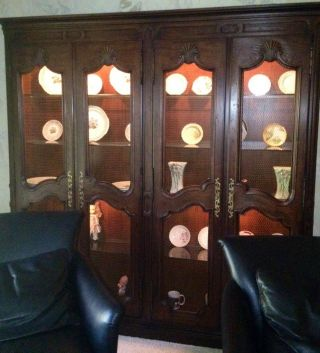 One Piece Antique Solid Oak Walnut Stained China Hutch Cabinet Very Rare photo