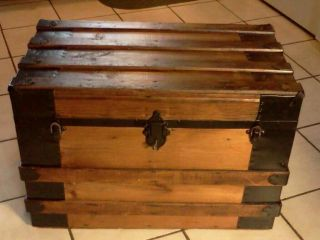 1800s Antique Rustic Flat Top Steamer Trunk Chest W/working Lock & Key photo