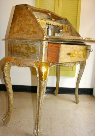 Circa; 1910 Italian Florentine Drop Front Desk Silver Gilt photo